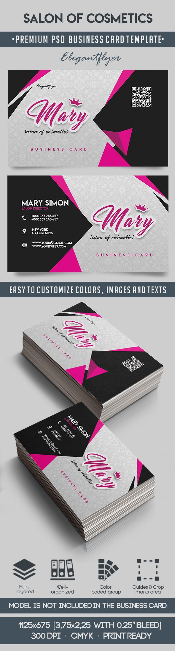 Salon Of Cosmetics – Premium Business Card Templates PSD – by ...