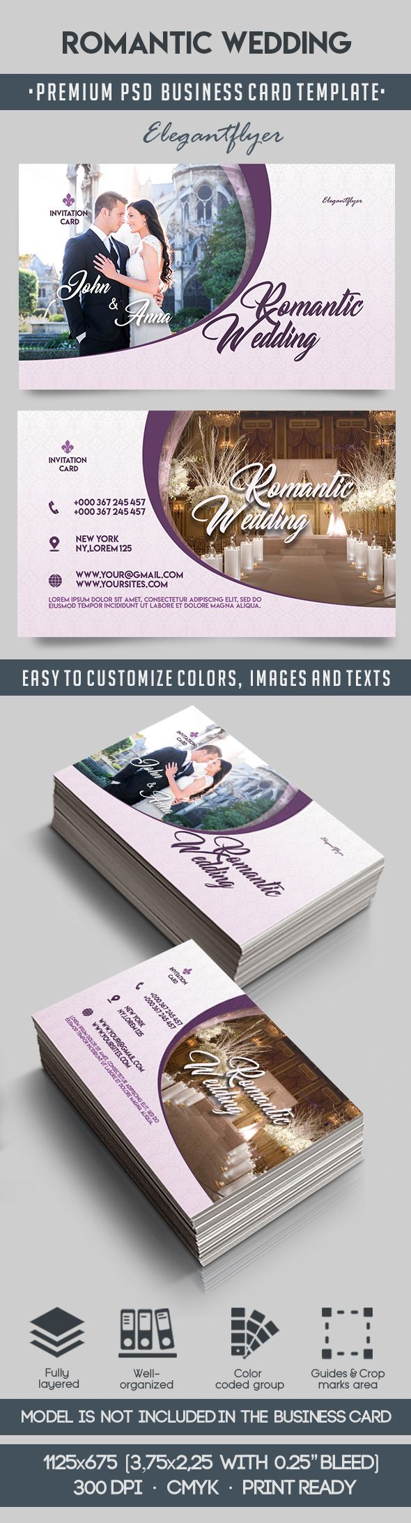Romantic Wedding PSD Business Card