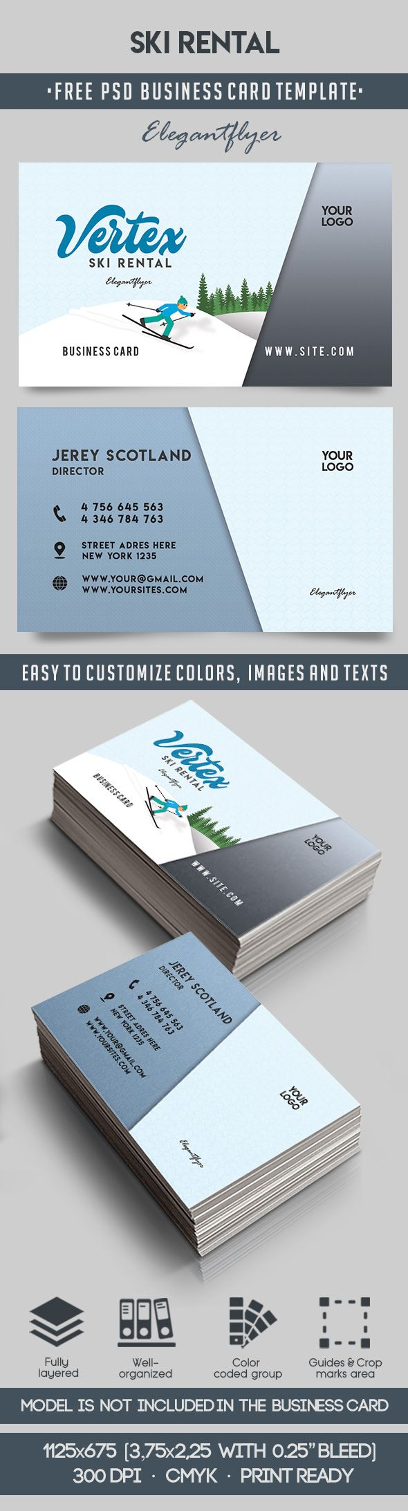 Ski Rental – Free Business Card Templates PSD