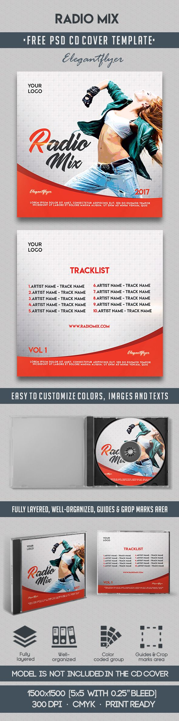Radio Mix – Free CD Cover PSD Template