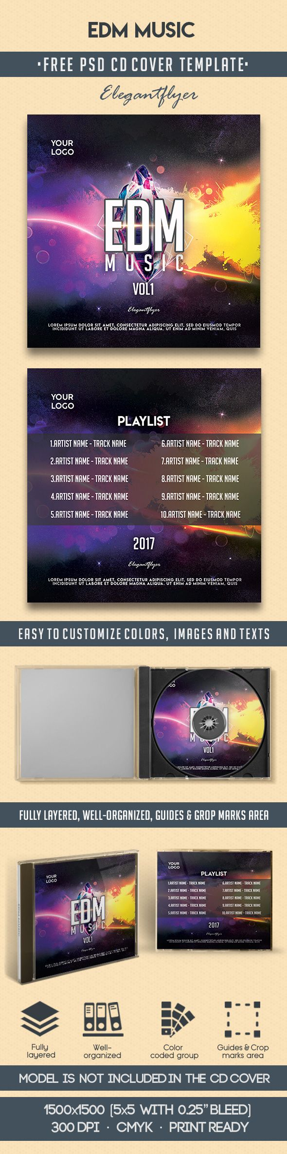 Edm Music – Free CD Cover PSD Template