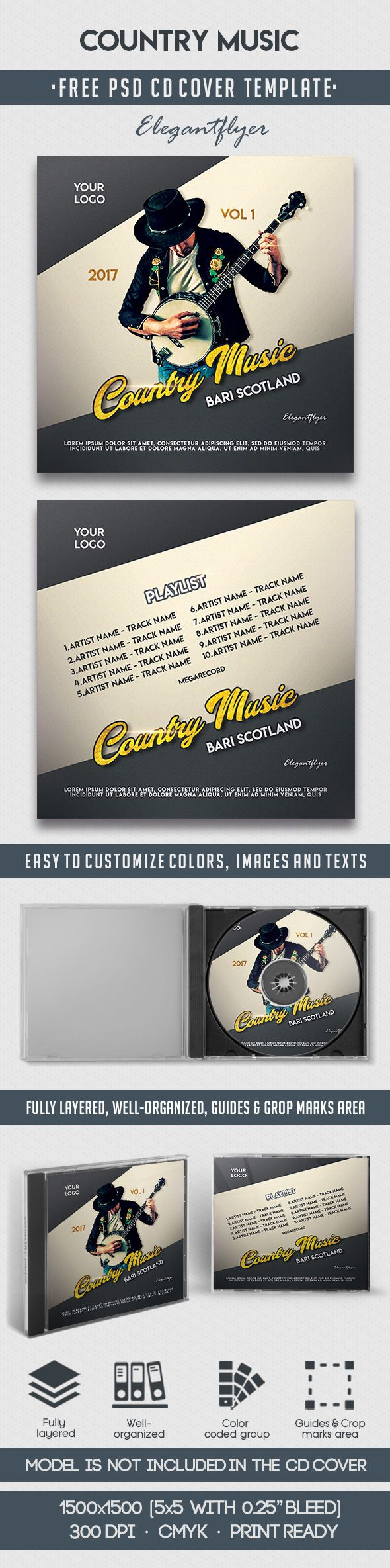 Country Music – Free CD Cover PSD Template