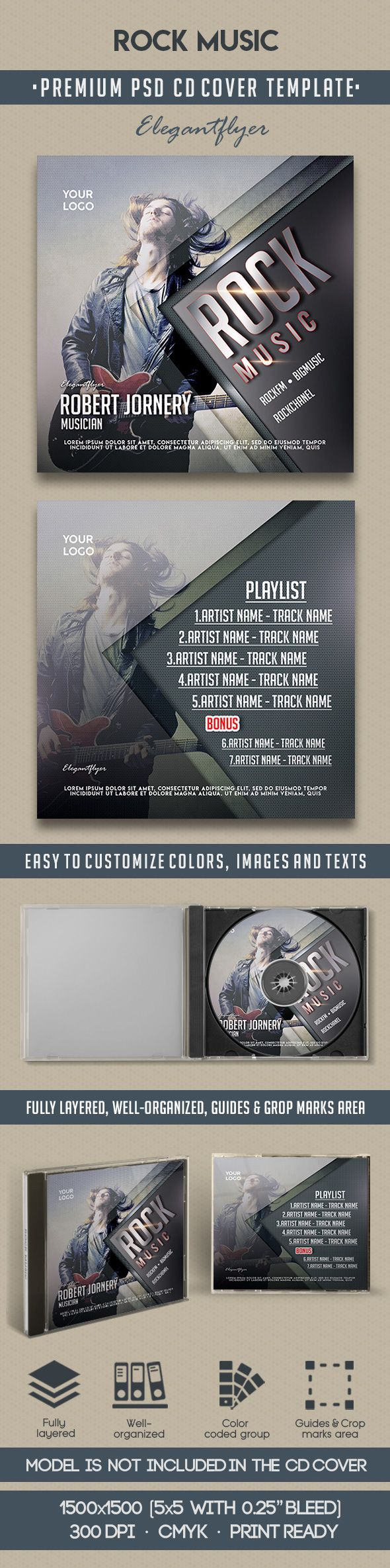Rock Music CD Cover PSD Template