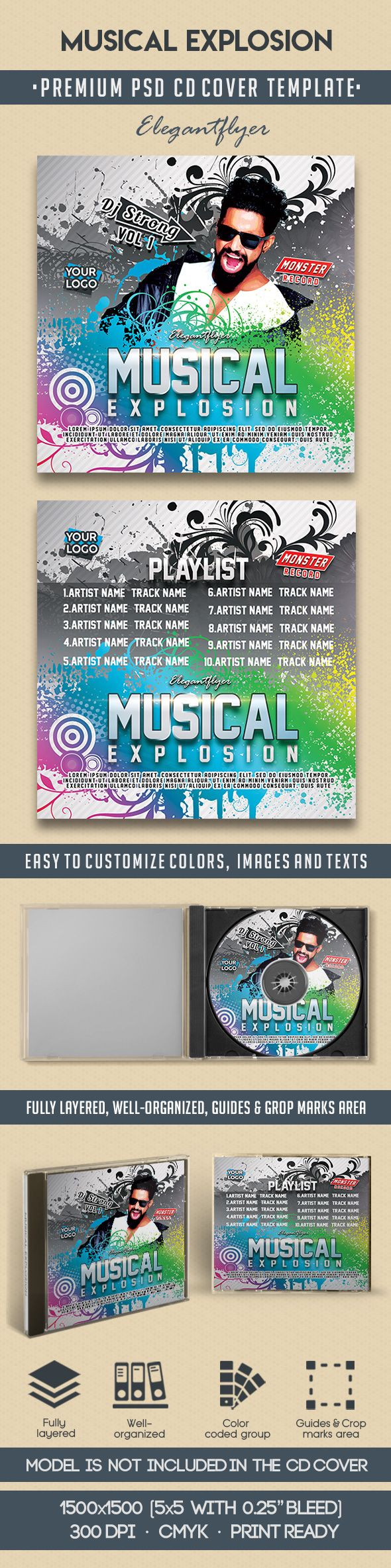 Musical Explosion – Premium CD Cover PSD Template
