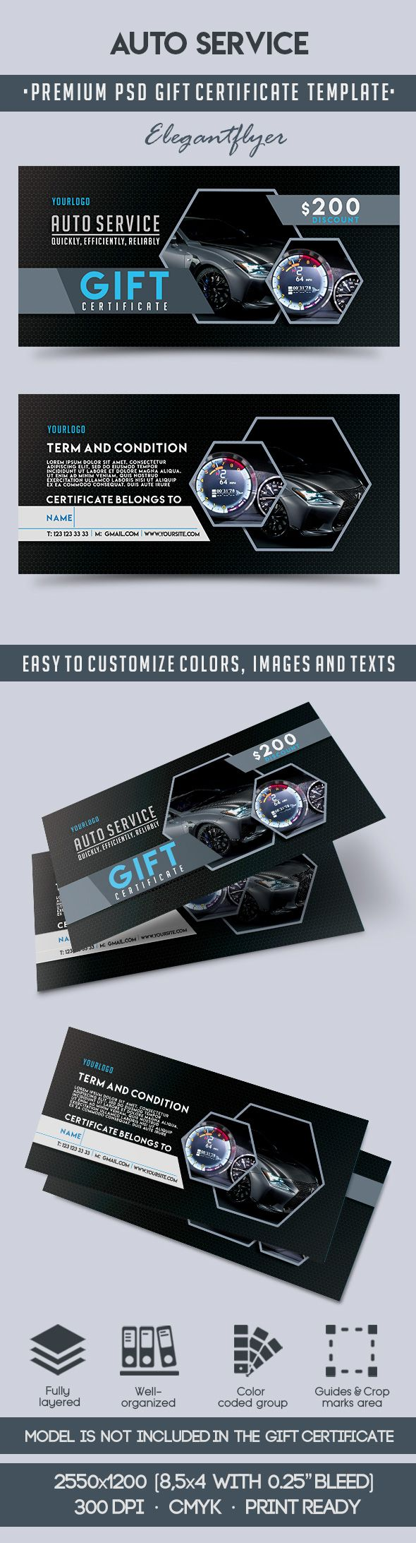 Auto service premium gift certificate psd template by for Automotive gift certificate template