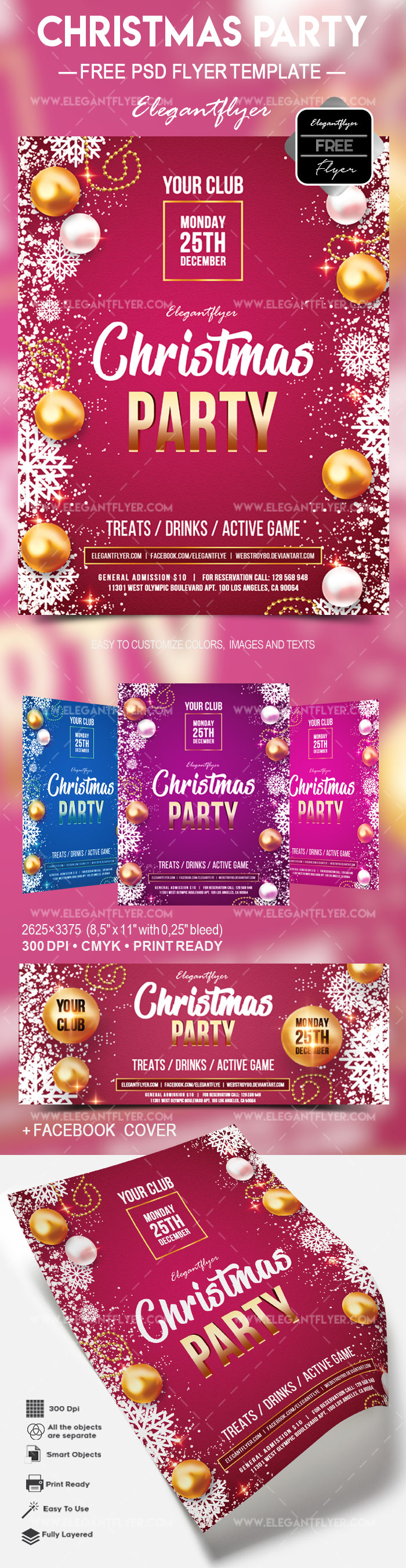 Free Christmas party – Flyer PSD Template