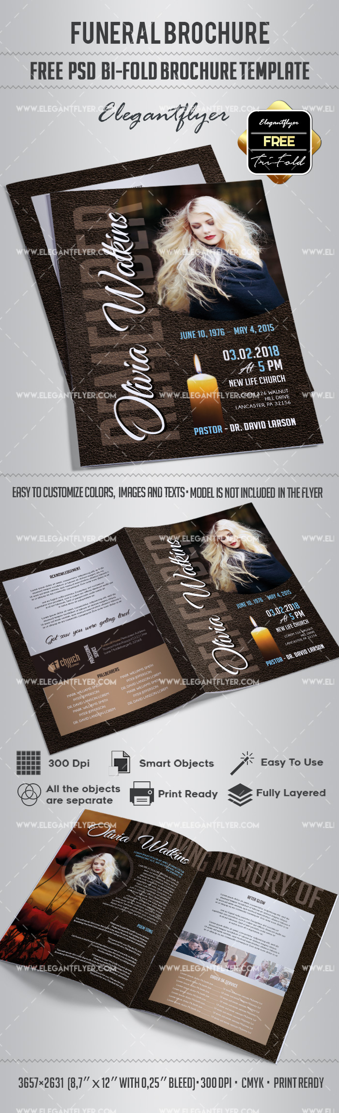 Free bi fold brochure for funeral by elegantflyer for 2 fold brochure template psd