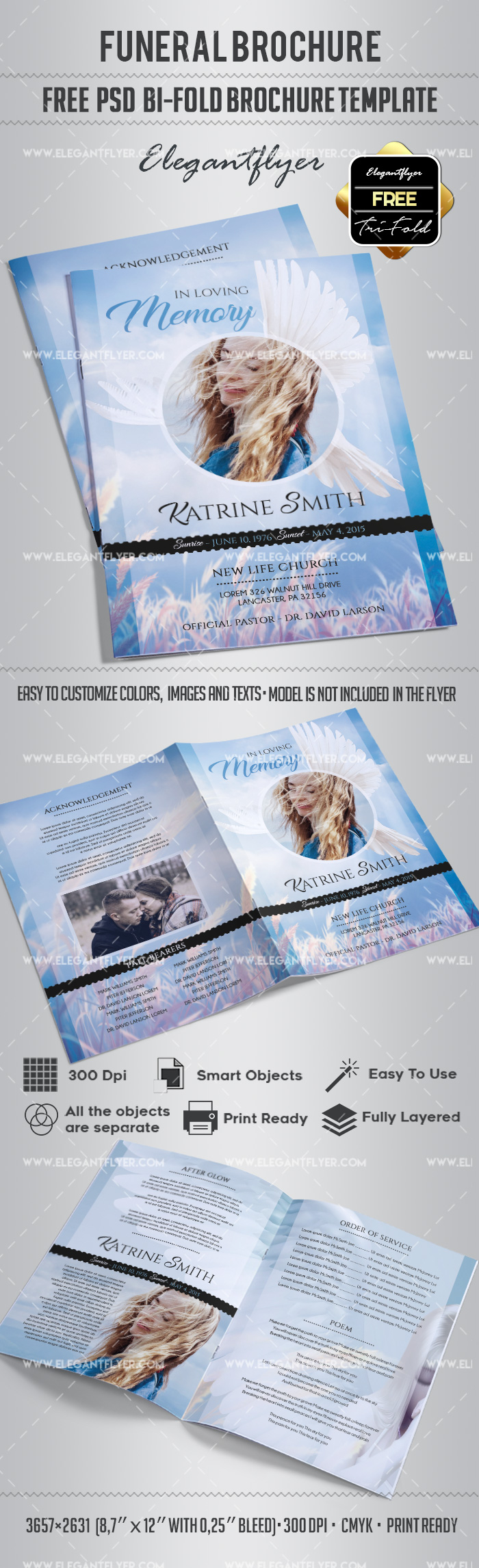 Free funeral bi fold brochure by elegantflyer for Free psd brochure template