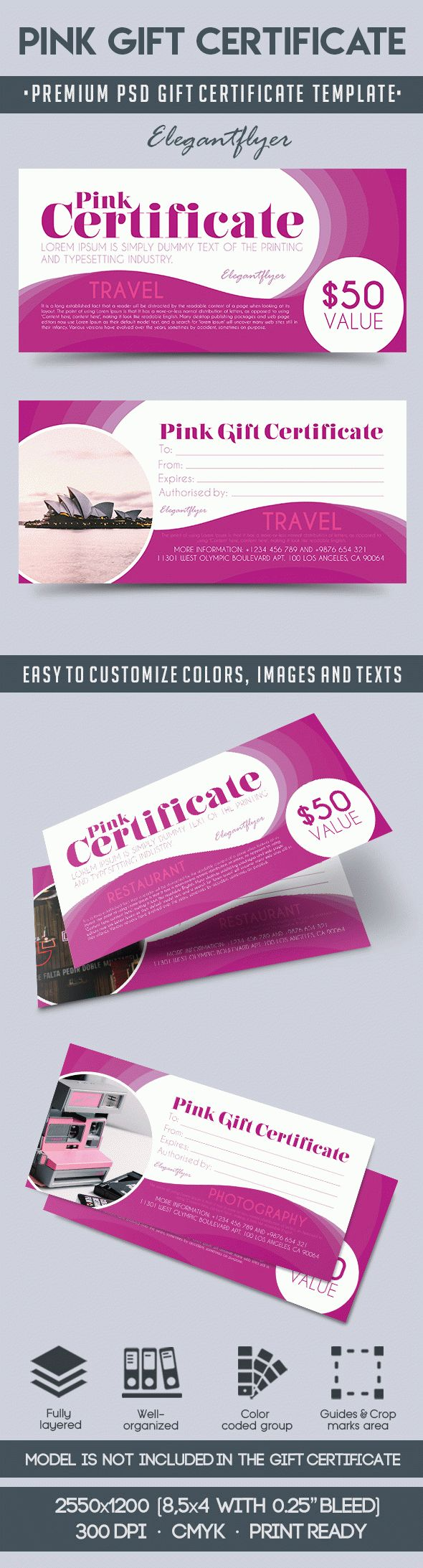 Gift cards psd template gallery certificate design and template pink gift certificate premium gift certificate psd template by yadclub Image collections