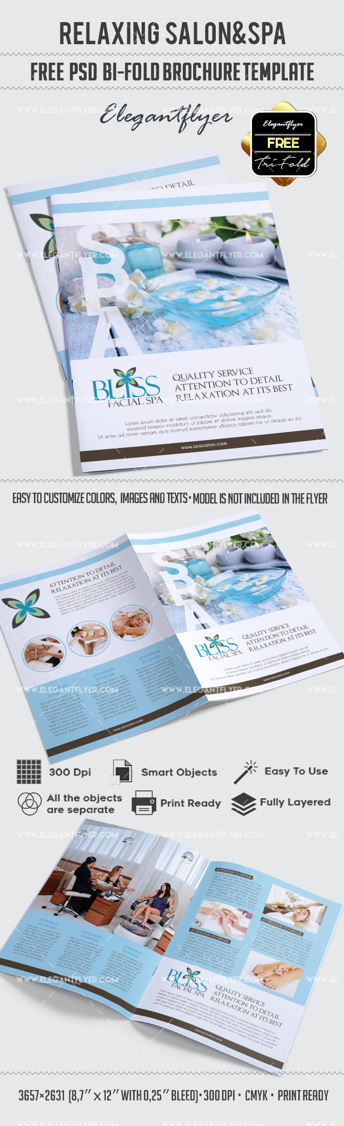 Free relaxing salon for bi fold psd brochure by elegantflyer for Free psd brochure template