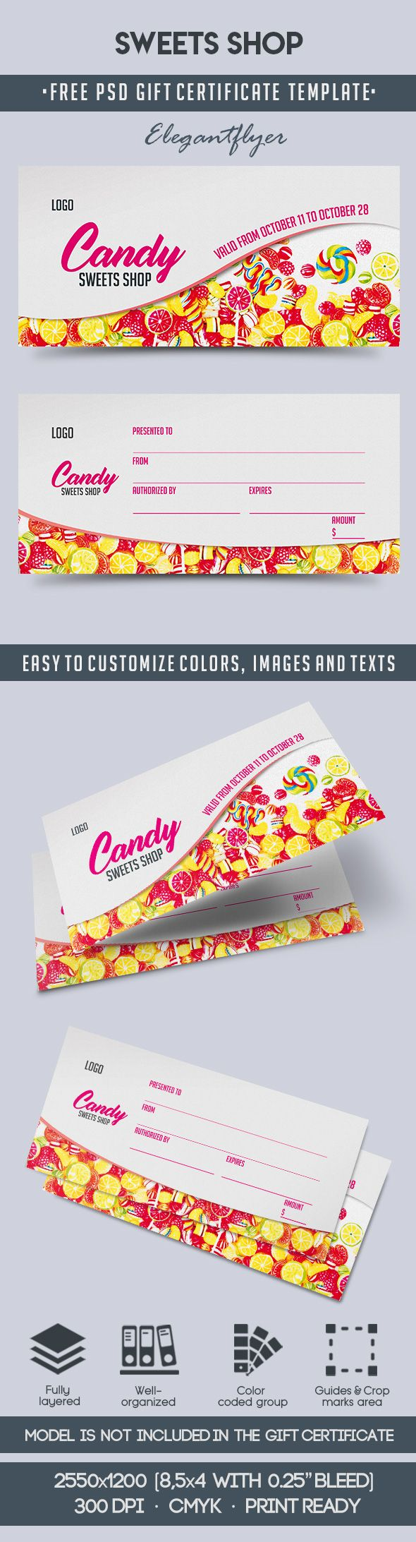 Sweets Shop – Free Gift Certificate PSD Template
