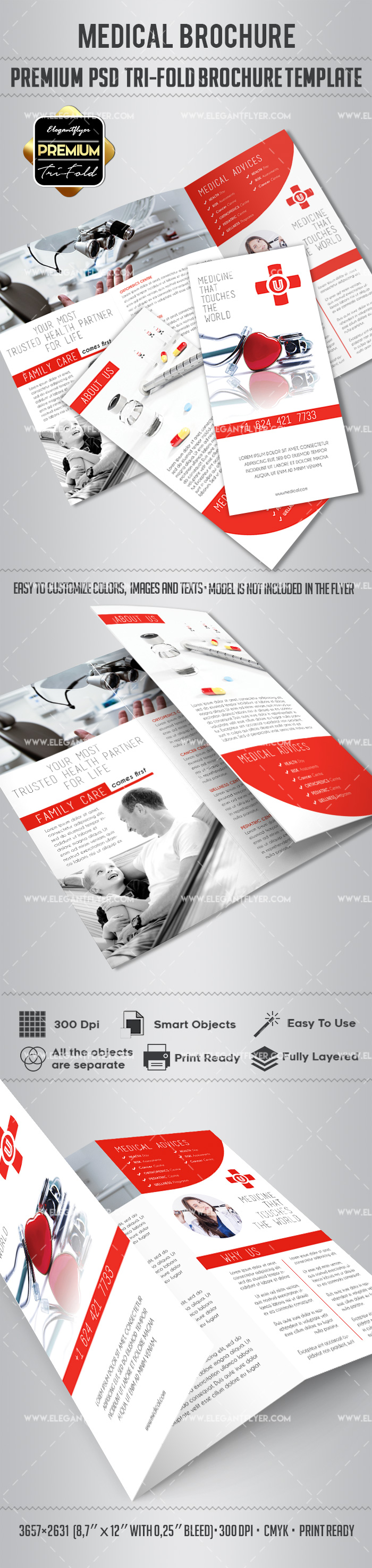 Medical tri fold brochure by elegantflyer for 11x17 poster template photoshop