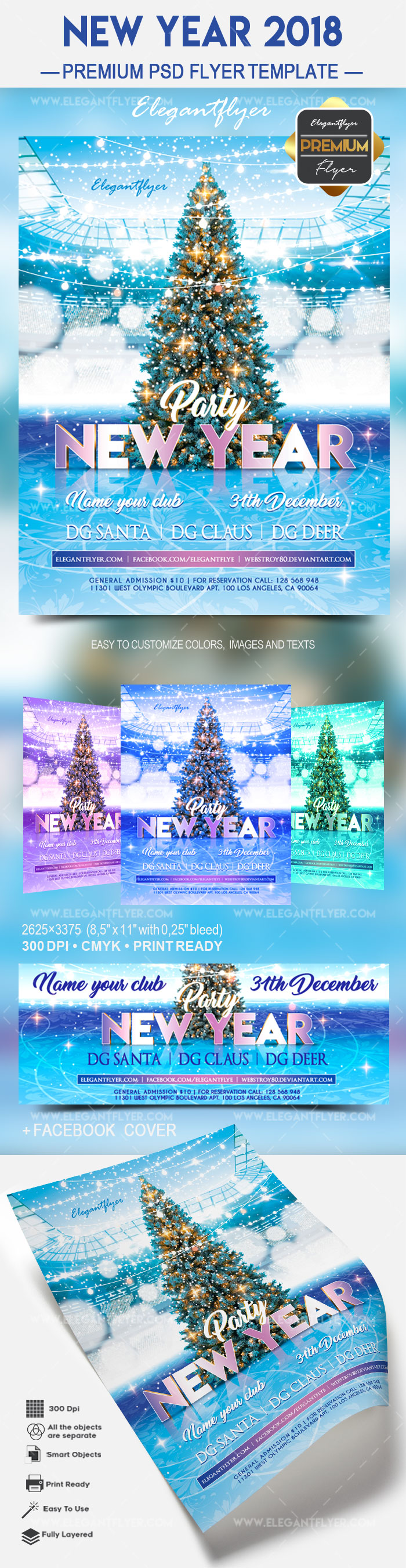 New Years Tree PSD Template
