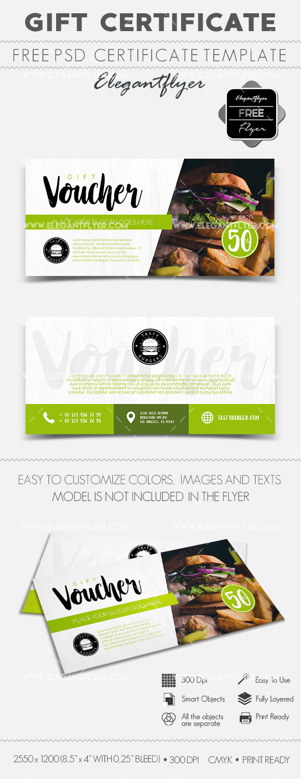 Tasty Burgers – Free Gift Certificate PSD Template