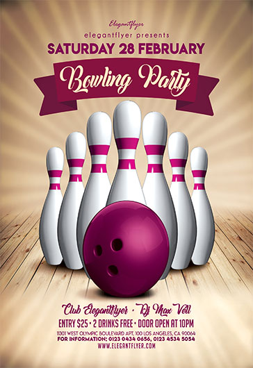 bowling party v02 flyer psd template by elegantflyer. Black Bedroom Furniture Sets. Home Design Ideas