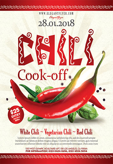 Chili Cook Off Flyer Psd Template By Elegantflyer