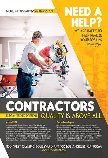 Contractors – Flyer PSD Template