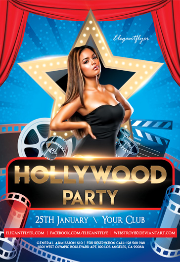 Hollywood Party Flyer in PSD