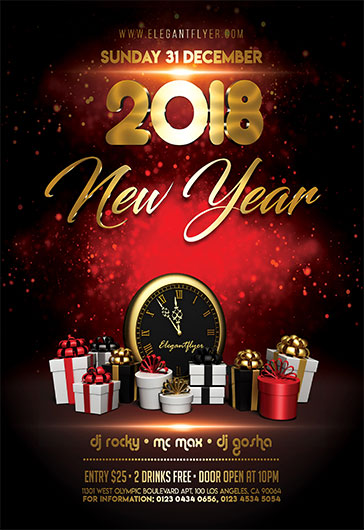 New Year – Free Flyer PSD Template + Instagram template