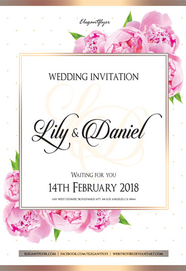 Party for Pink Flower Wedding Invitation