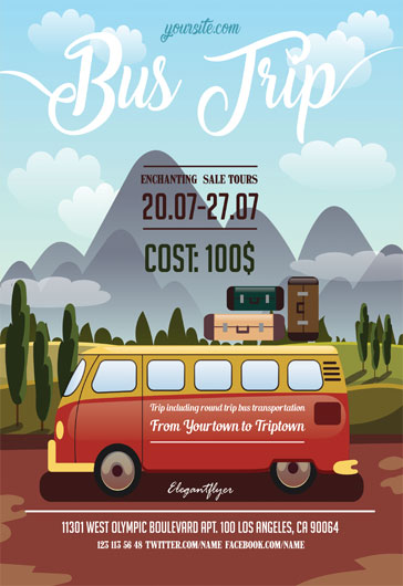 bus trip flyer templates  u2013 by elegantflyer