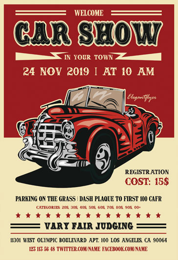 Classic Car Show Flyer Template By ElegantFlyer - Car show flyer background