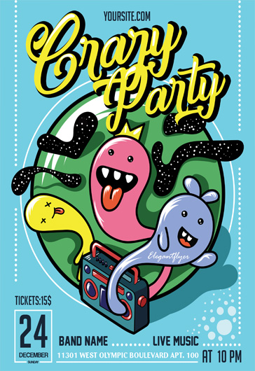 Crazy Party- Flyer PSD Template