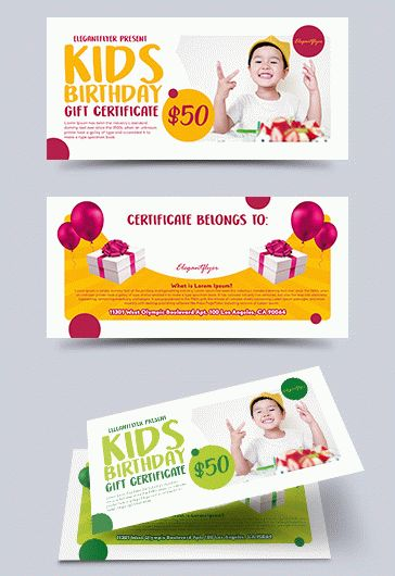 PSD Gift Certificate for Kids Birthday