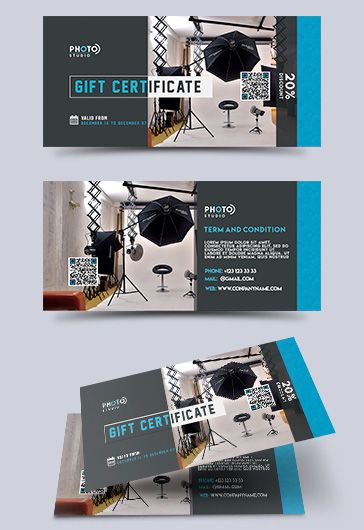 Photo Studio – Premium Gift Certificate PSD Template