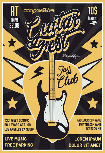 Guitar Fest – Flyer PSD Template
