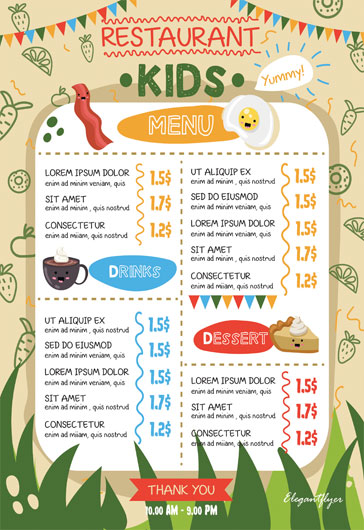 Kids Menu – Flyer PSD Template