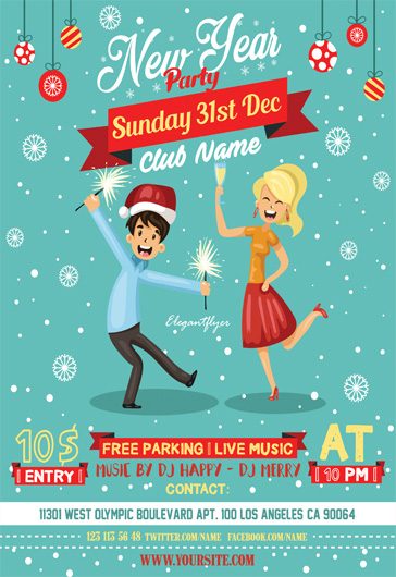 Retro Christmas Party – Flyer PSD Template