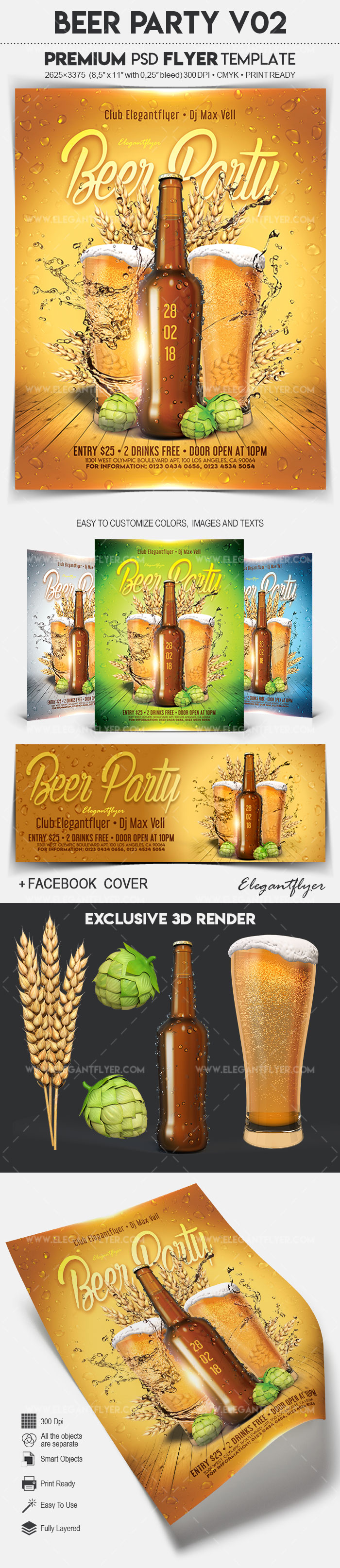 Beer Party V02 – Flyer PSD Template + Facebook Cover