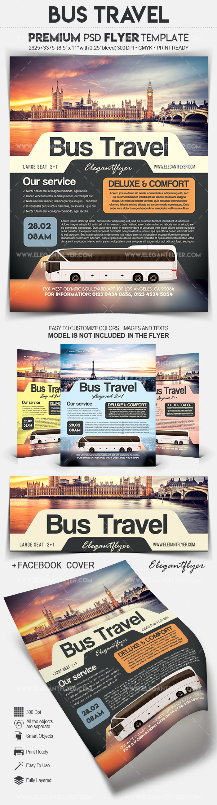 Bus Travel – Flyer PSD Template