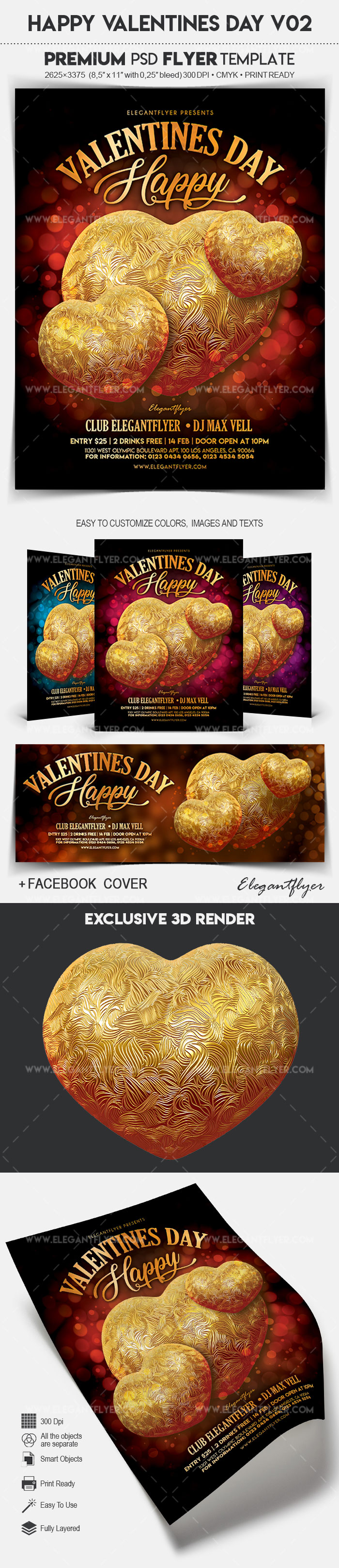 Happy Valentines Day V02 – Flyer PSD Template