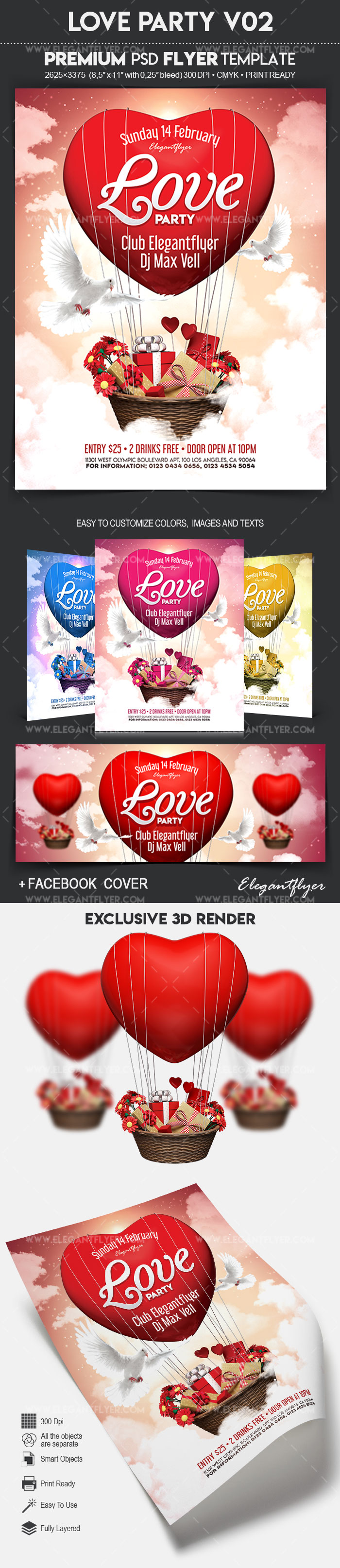 Love Party V02 – Flyer PSD Template