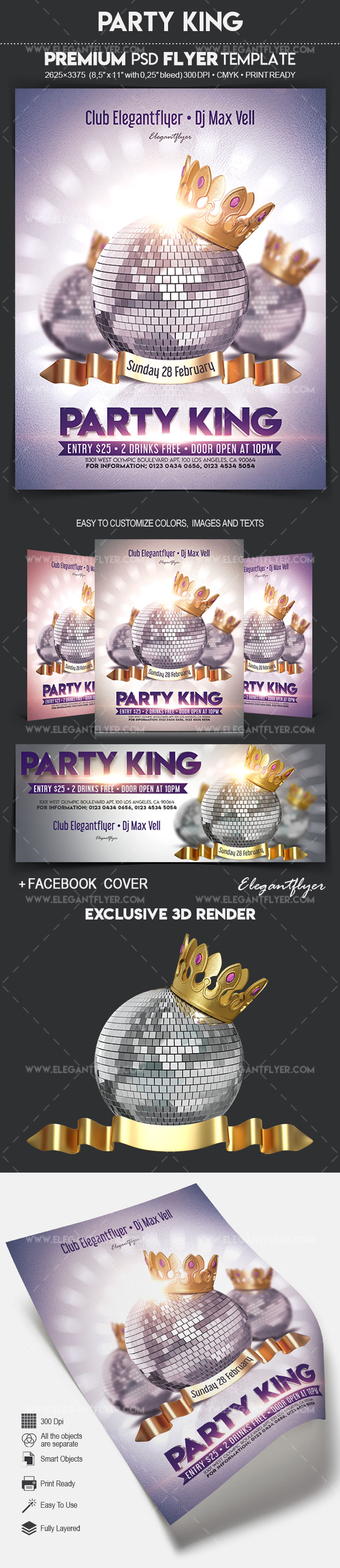 Party King – Flyer PSD Template + Facebook Cover
