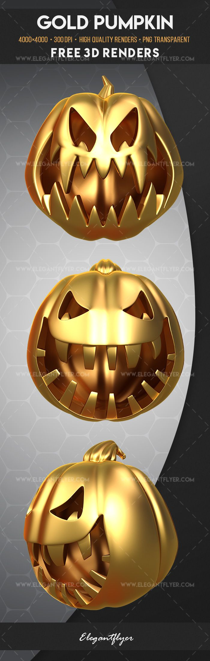 Gold Pumpkin – Free 3d Render Templates
