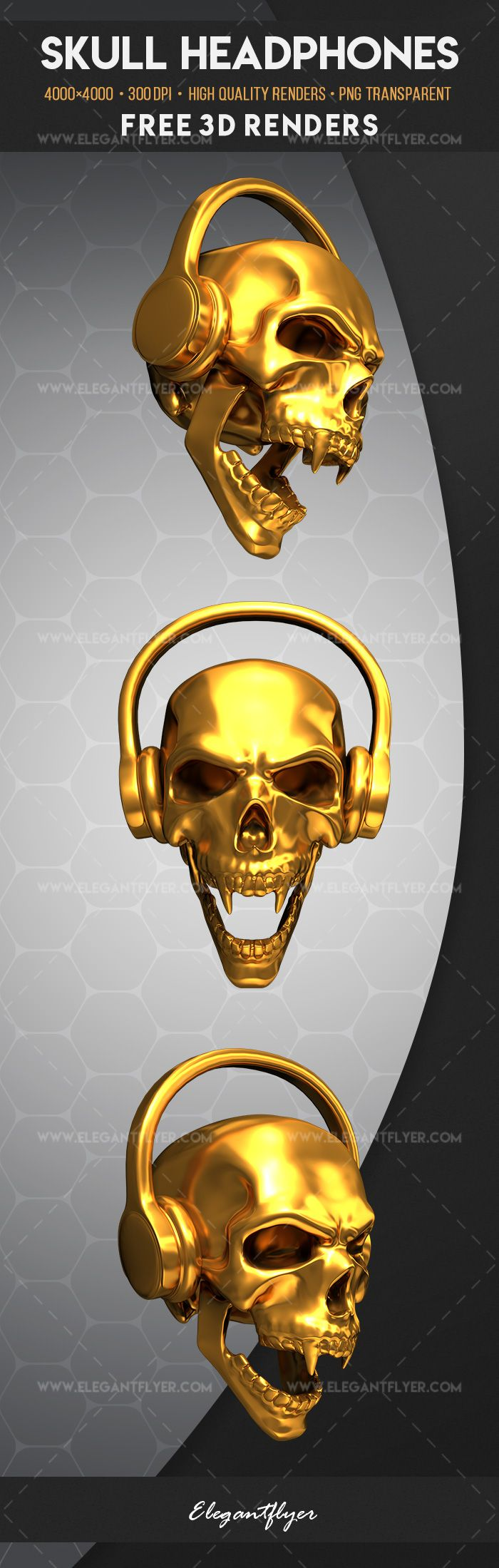 Skull Headphones – Free 3d Render Templates