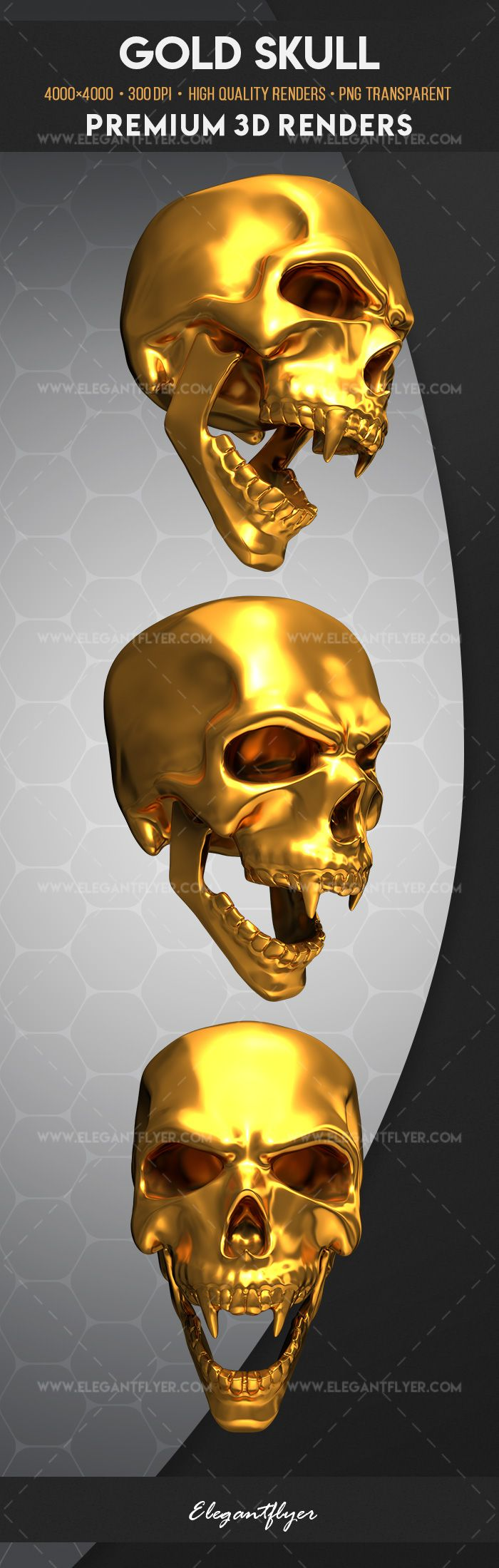 gold skull premium 3d render templates by elegantflyer. Black Bedroom Furniture Sets. Home Design Ideas