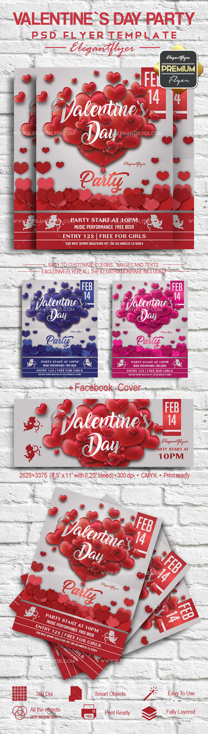 Valentine`s Day Party- Flyer PSD Template
