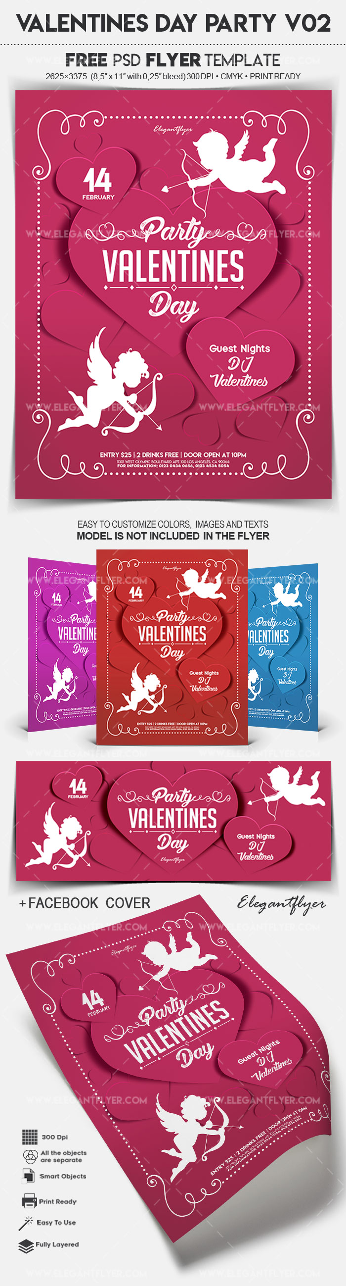 Valentines Day Party V02 – Free Flyer PSD Template
