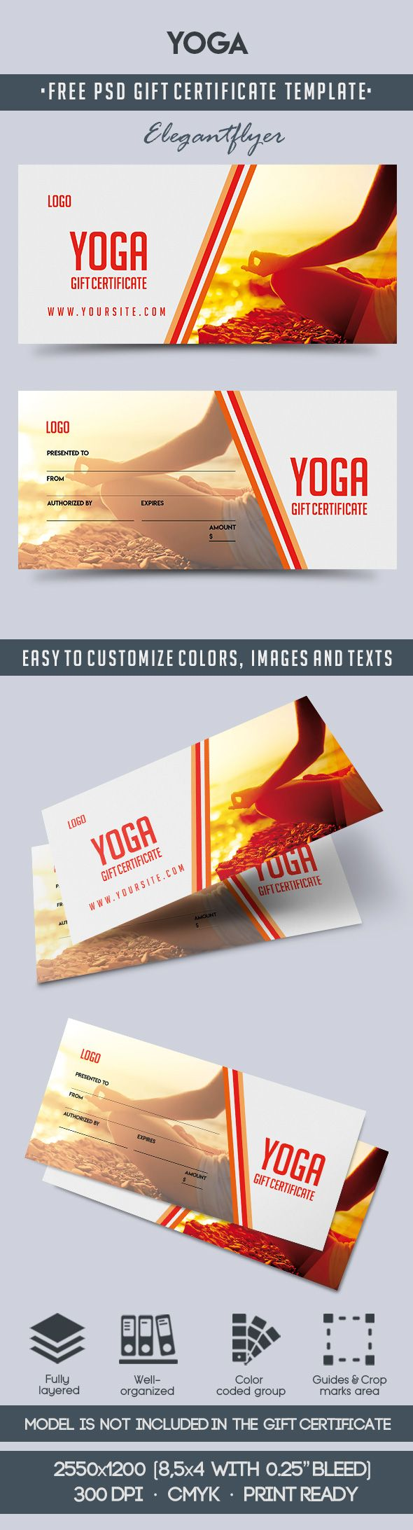 Yoga – Free Gift Certificate PSD Template