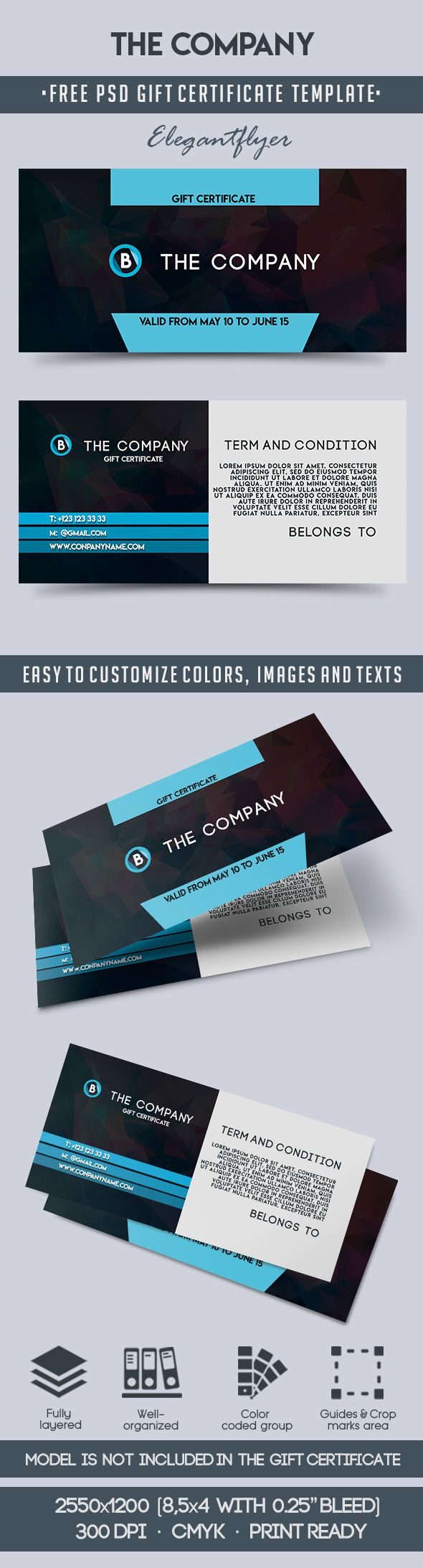 The Company – Free Gift Certificate PSD Template
