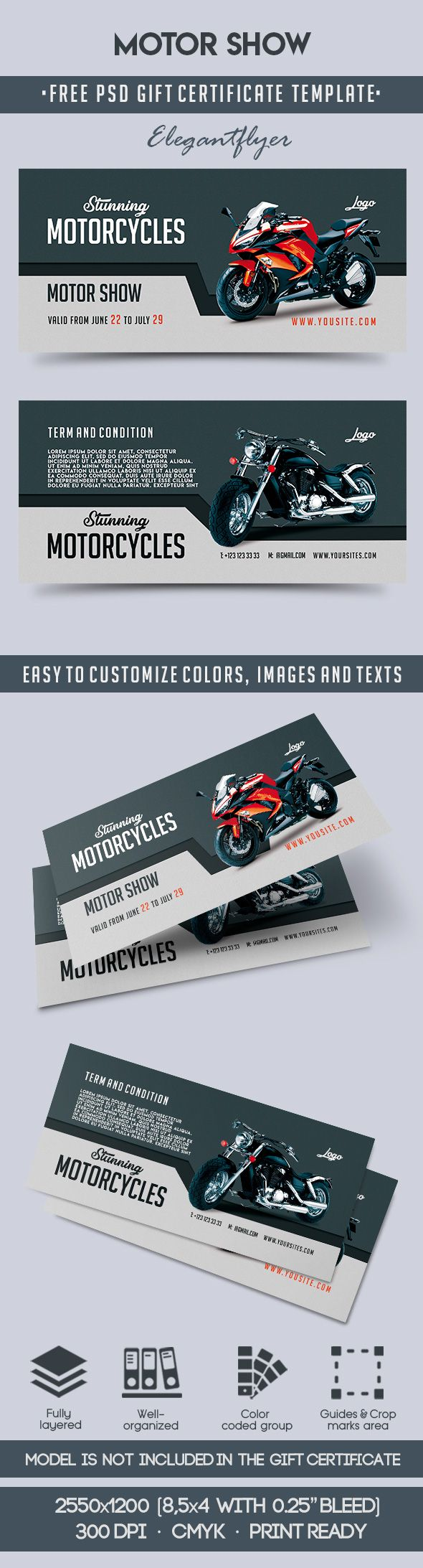 Motor Show – Free Gift Certificate PSD Template