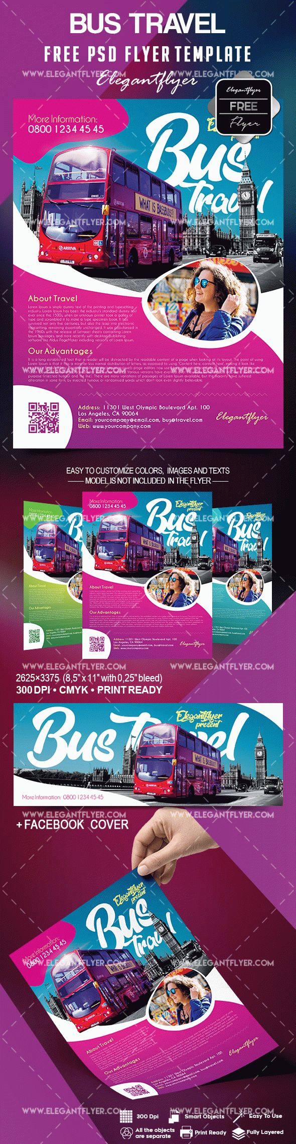 Free bus travel flyer template by elegantflyer free bus travel flyer template pronofoot35fo Choice Image