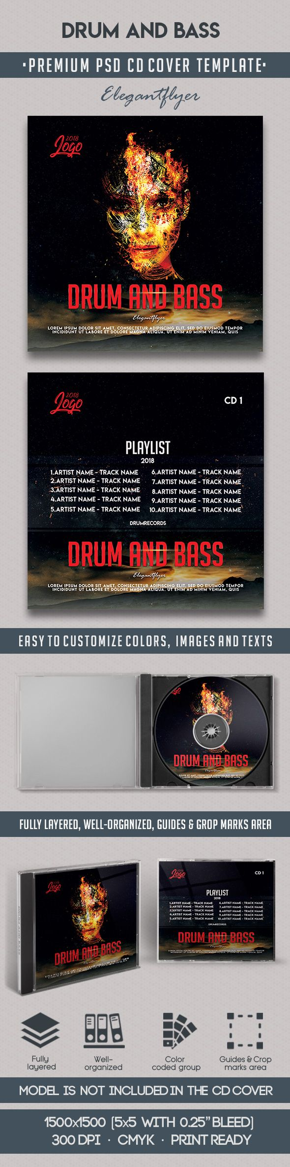 Drum and Bass – Premium CD Cover PSD Template