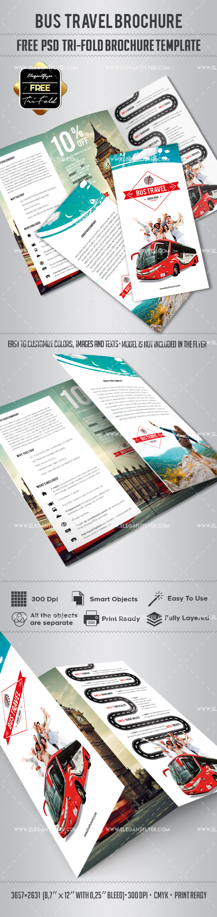Free – Bus Travel Tri-Fold PSD Brochure Template
