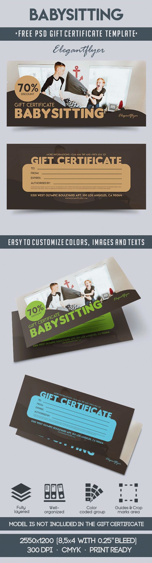 Babysitting free gift certificate psd template by for Babysitting gift certificate template