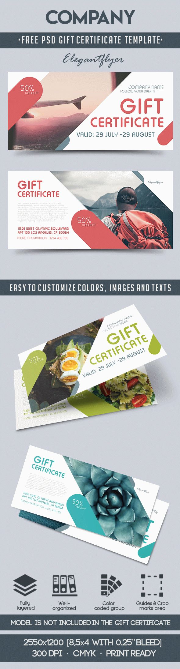 Company – Free Gift Certificate PSD Template